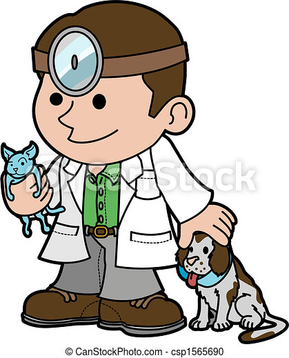 illustration of veterinarian with animals illustration of vector rh canstockphoto com veterinarian clip art free veterinarian clipart images