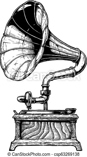 illustration of vintage gramophone vector hand drawn illustration of record gramophone in vintage engraved style isolated https www canstockphoto com illustration of vintage gramophone 63269138 html