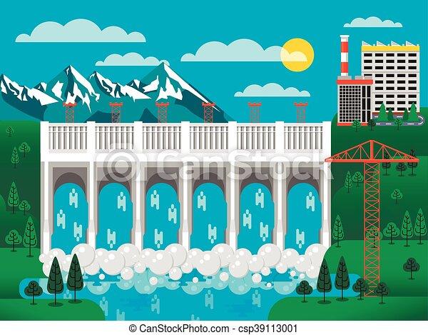 illustration of water dam among green hills - csp39113001