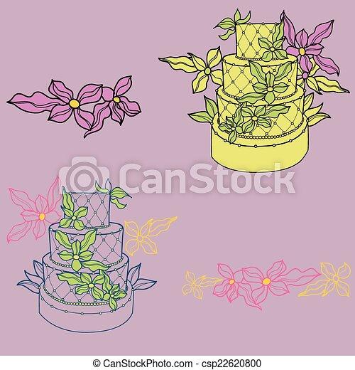 Illustration of wedding cakes - csp22620800