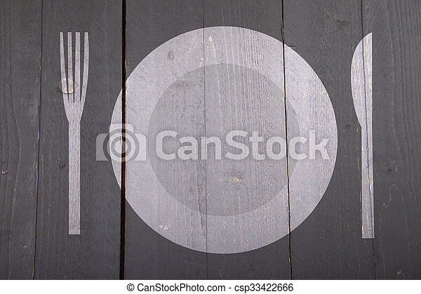 Illustration of white plate with fork and knife on dark black wooden background - csp33422666