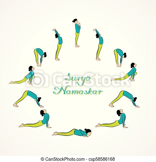 illustration of woman doing surya namaskar for
