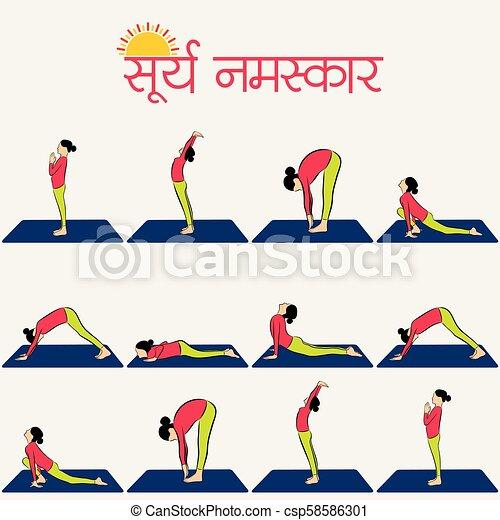 illustration of woman doing surya namaskar for