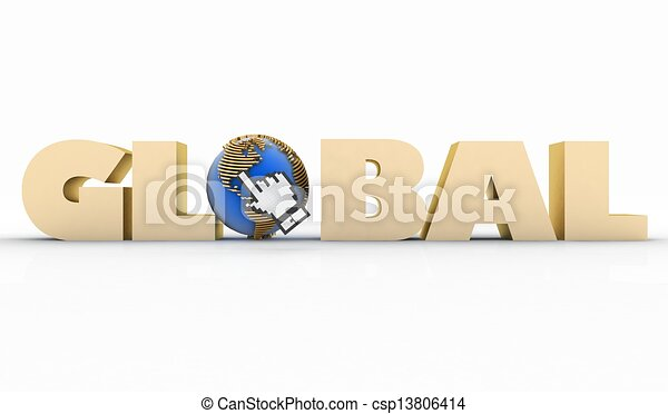 illustration of word with a globe and mouse cursor - csp13806414