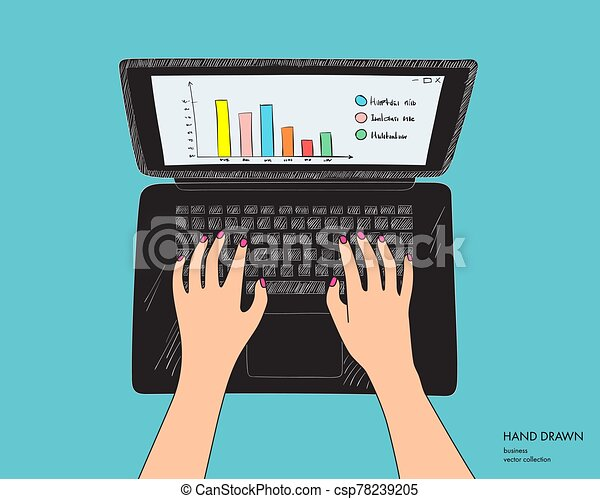 Illustration of workplace with black laptop. Female hands on keyboard working. Hand drawn vector sketch isolated on white background - csp78239205