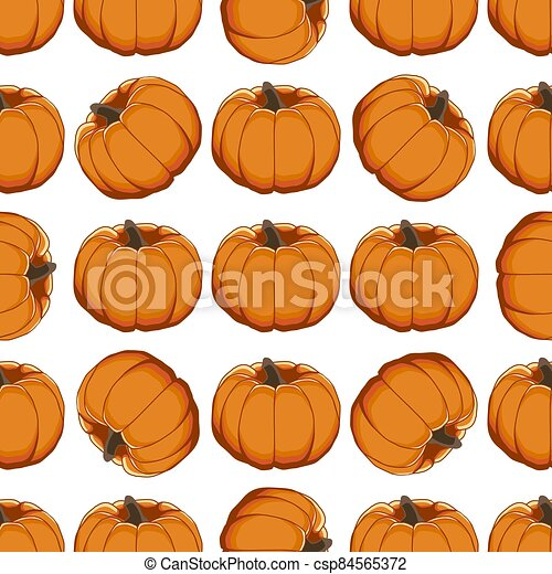 Illustration on theme of bright pattern yellow pumpkin - csp84565372