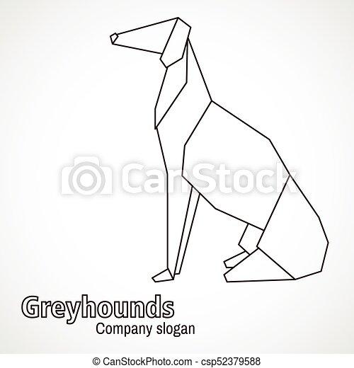 Illustration Origami Contours Dog Breed Greyhound
