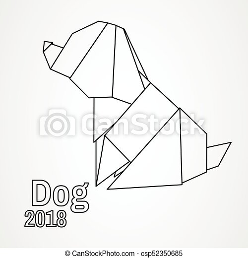 Illustration Origami Dog Geometric Style Icon Symbol Of 2018