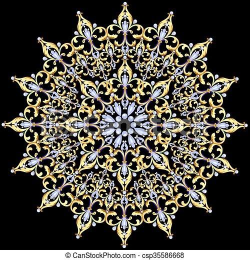 illustration, ornements, noir, or, fond - csp35586668