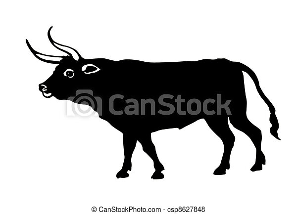 illustration oxen on white background stock illustration search rh canstockphoto com Cartoon Oxen oven clipart image