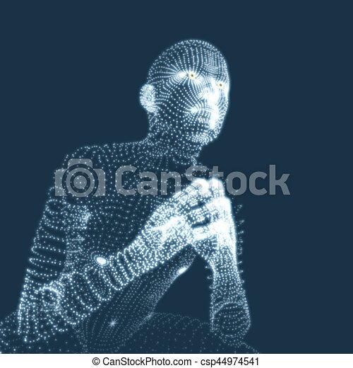 illustration., pose., 哲学, 思想家, 人, ∥あるいは∥, 心理学 - csp44974541
