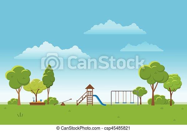illustration., primavera, parque, experiência., vetorial, público, paisagem - csp45485821