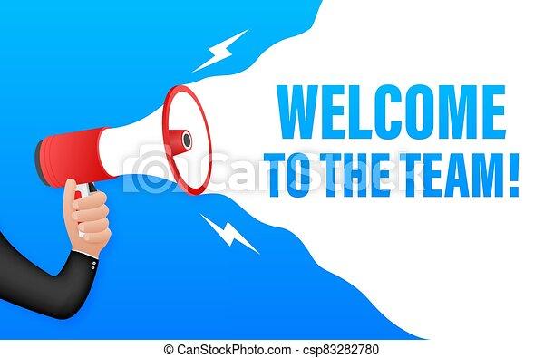 illustration., publicidad, vector, signo., escrito, bienvenida, bubble., discurso, acción, equipo - csp83282780