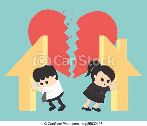 Illustration Relationship Divorce,division of property - csp35632125