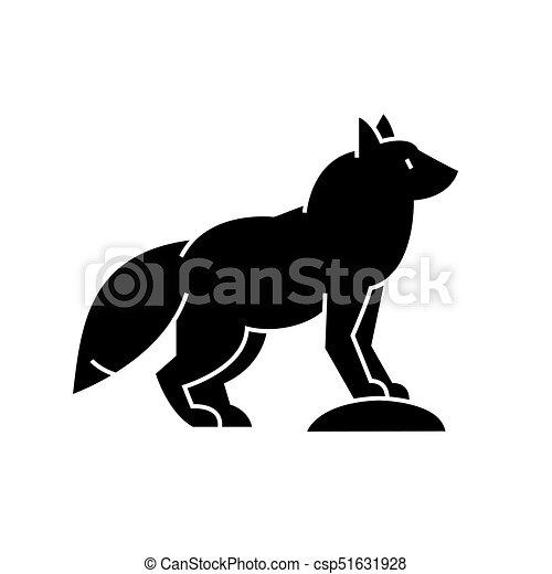 illustration, renard, isolé, signe, vecteur, fond, icône - csp51631928