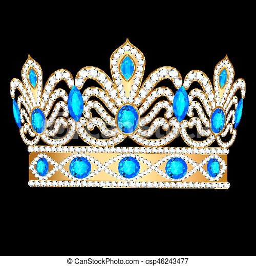 Illustration royal golden crown with an ornament and precious stones - csp46243477
