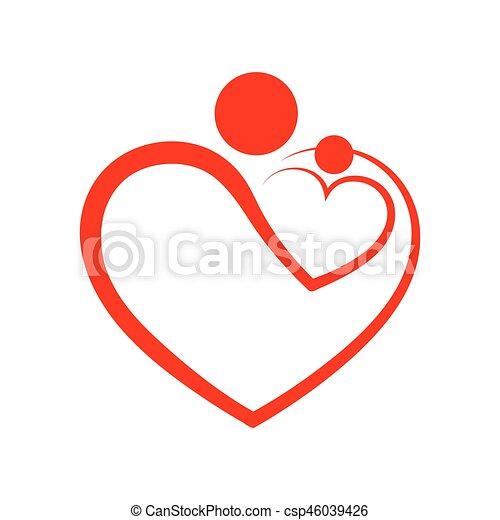 illustration., símbolo, vetorial, cuidado, forma., família, coração - csp46039426