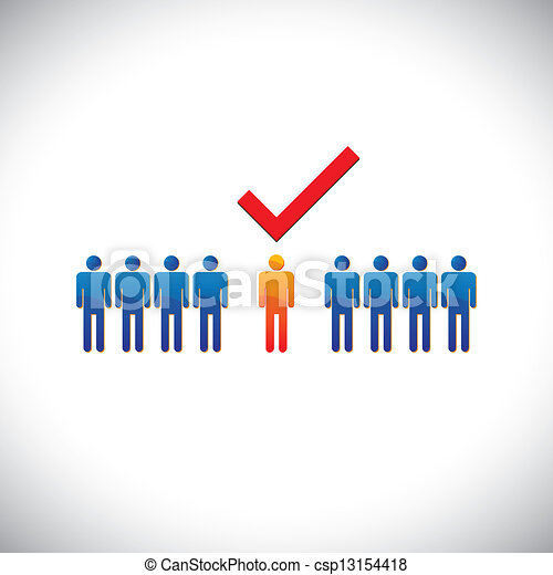 Illustration- selecting(hiring) right employee, worker, candidate. The graphical illustration shows the employable and suitable for job person with a check(tick) mark - csp13154418