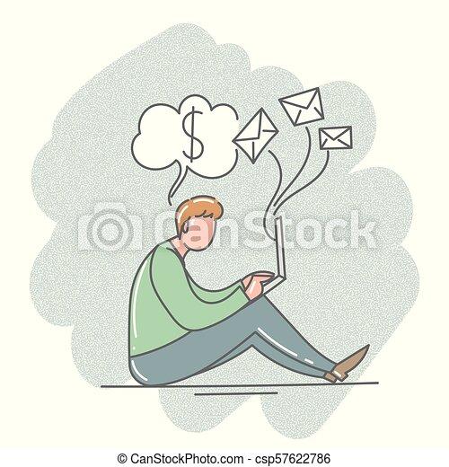 Un hombre sentado con un portátil en la oficina. Ilustración de vectores. - csp57622786