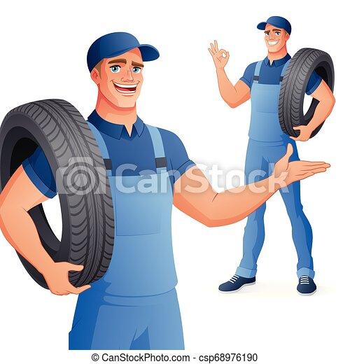 illustration., service, auto, tire., vektor, mechaniker, besitz, mann, auto - csp68976190