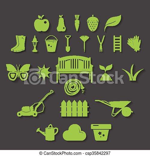 Illustration Set Icon Of Garden. Vector