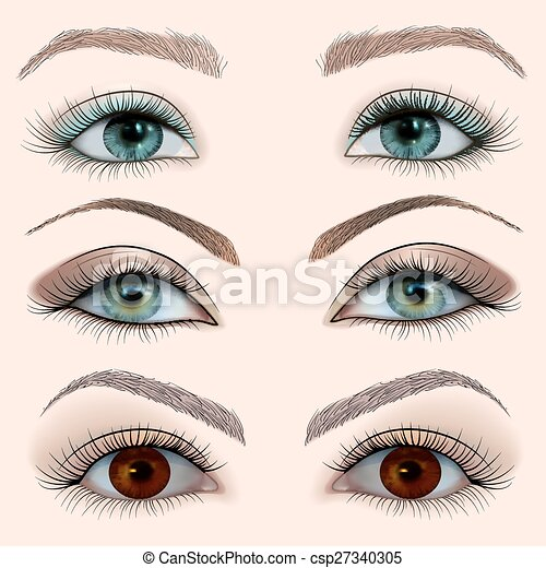 illustration set of a female eye wi - csp27340305