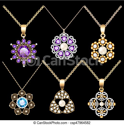 Illustration set of jewelry vintage pendants ornament made of beads of gold color and precious stones and pearls - csp47964582