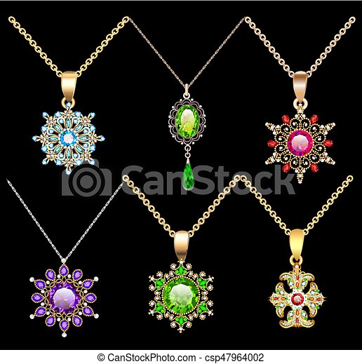 Illustration set of jewelry vintage pendants ornament made of beads of gold color and precious stones and pearls - csp47964002