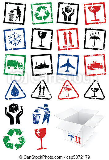 Illustration set of packing stamps. - csp5072179