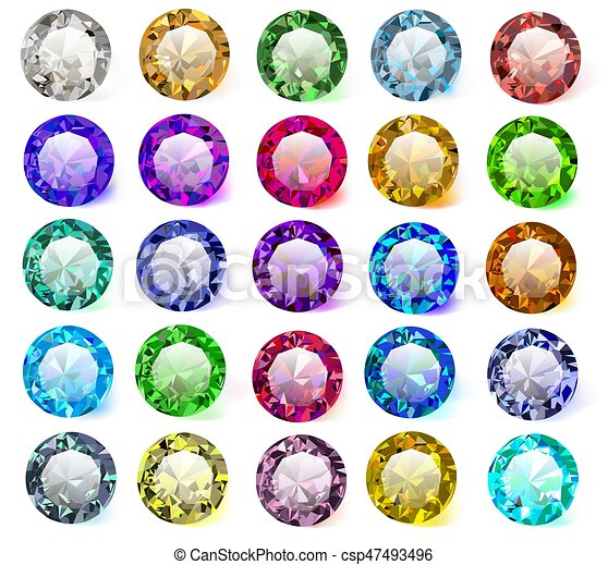 illustration set of precious stones of different  colors - csp47493496