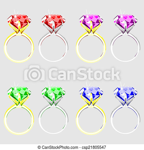 illustration  set of rings with precious stones - csp21805547