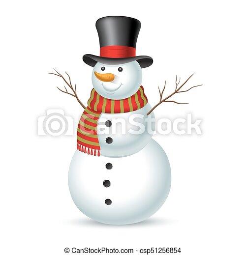 illustration, snowman., vektor, jul - csp51256854