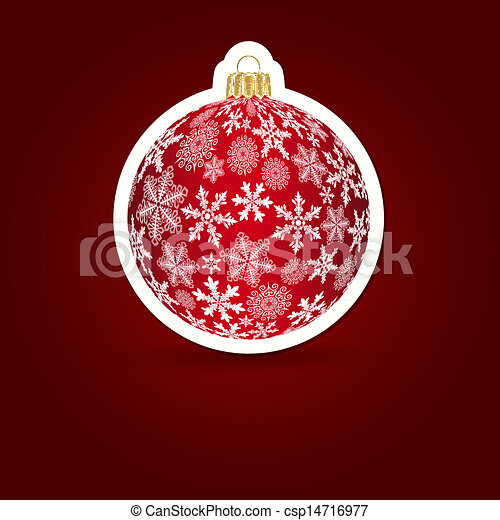 illustration., sticker, achtergrond., vector, kerstmis, ball. - csp14716977
