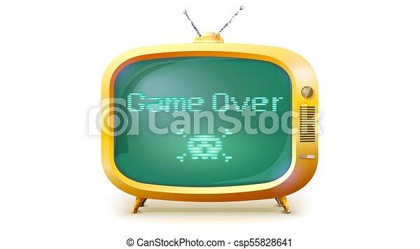 illustration, style, sur, informatique, crâne, message., tv, ou, isolé, jaune, arrière-plan., jeu, ensemble, texte, retro, screen., os, blanc, pixel, 3d - csp55828641