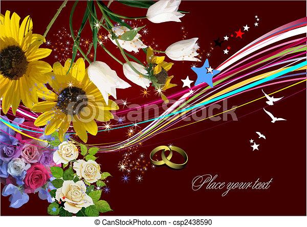 illustration., svatba, pozdrav, vektor, pozvání, karta, card. - csp2438590