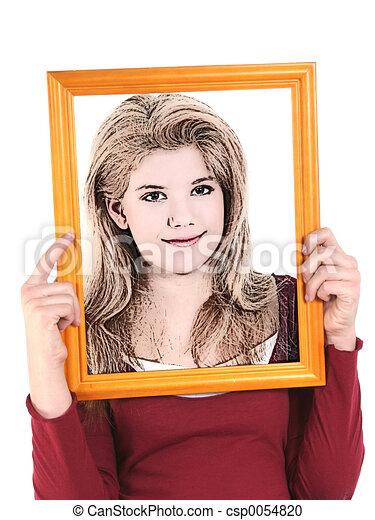 Illustration Teen Girl Holding Wooden Frame In Front