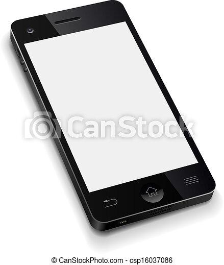 illustration., telefono, mobile, schermo, realistico, vettore, sagoma, vuoto, bianco, 3d - csp16037086