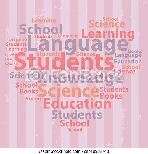 illustration., texto, concept., tipografia, vetorial, wordcloud., cloud., educação - csp19902748