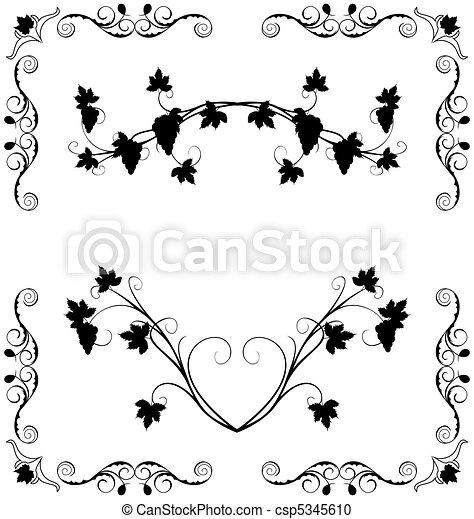 Illustration the grape twig ornate - csp5345610