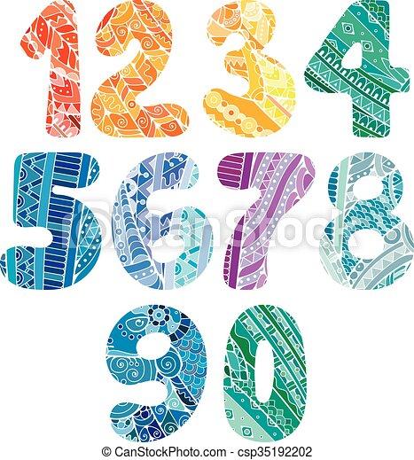 illustration, toile, éléments, elements., t-shirts, griffonnage, autre., collection, booklets, conception, textile, boîte, utilisé, vecteur, nombres, zentangle, impression, être, cartes, set. - csp35192202