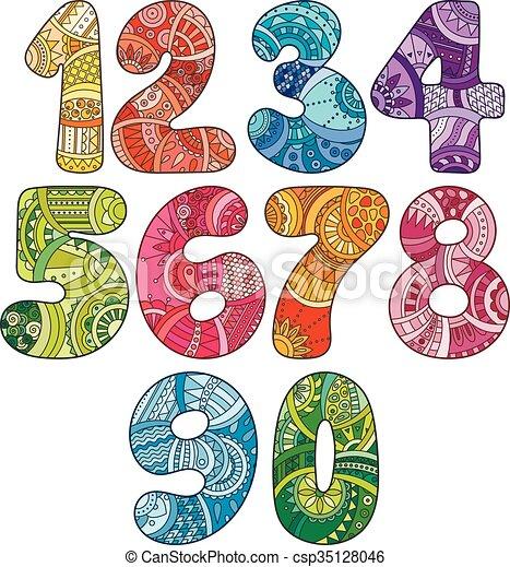 illustration, toile, éléments, elements., t-shirts, griffonnage, autre., collection, booklets, conception, textile, boîte, utilisé, vecteur, nombres, zentangle, impression, être, cartes, set. - csp35128046