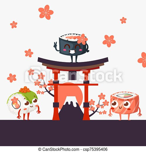 illustration., torii, flowers., folleto, señales, vector, asiático, entrega, restaurante, sushi, menú, cubierta, japonés, caracteres, divertido, puerta, famoso, fuji, montaña, sakura - csp75395406