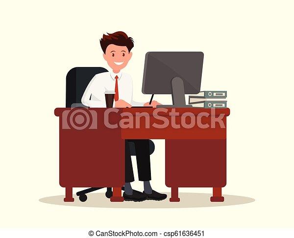illustration., trabalhador escritório, atrás de, vetorial, desktop., homem - csp61636451