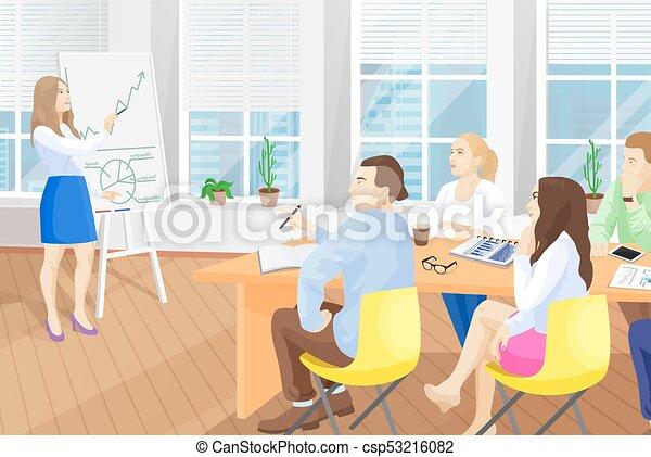 illustration, vecteur, bureau, séminaire commercial - csp53216082