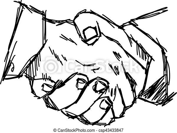 Illustration Vector Doodle Hand Drawn Sketch Of Handshake