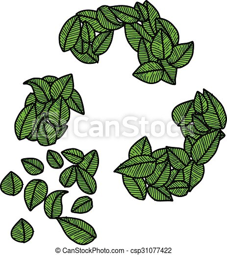 illustration vector doodle hand drawn green leaves recycle logo, ecology concept, creative design. - csp31077422