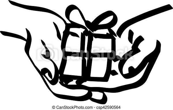 illustration vector doodle hand drawn of sketch hand of person giving or receiving gift package. Thick lines - csp42590564