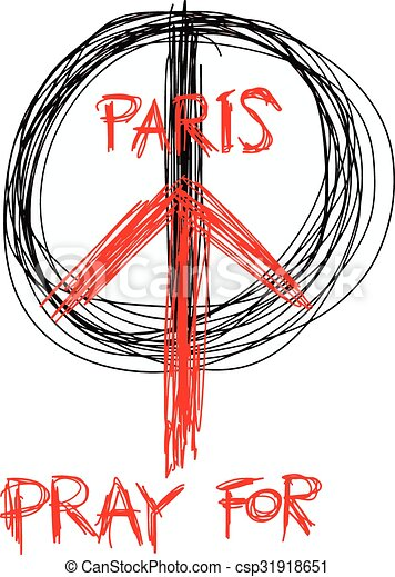 illustration vector doodle hand drawn of sketch Pray for Paris, France and Peace symbol drawing on white. - csp31918651