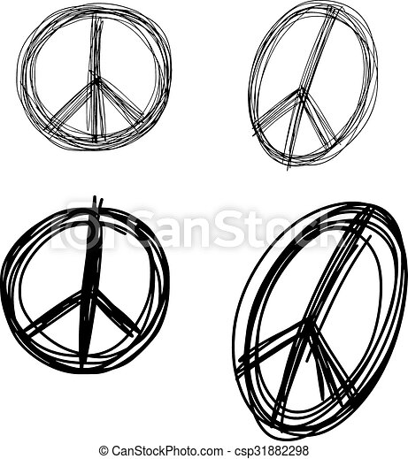 illustration vector doodle hand drawn of sketch set peace sign symbol isolated. - csp31882298