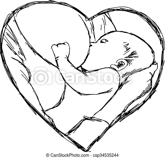 illustration vector doodle hand drawn of sketch breastfeeding baby in heart shape frame, love concept. - csp34535244